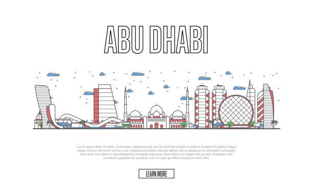 travel abu dhabi poster in linear style - abu dhabi stock illustrations