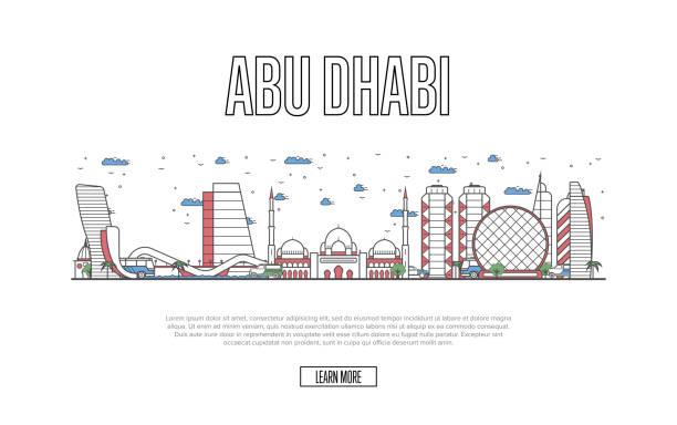 seyahat abu dabi poster lineer tarzda - abu dhabi stock illustrations