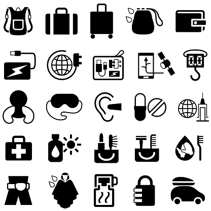 Travel Accessories and Products Icons