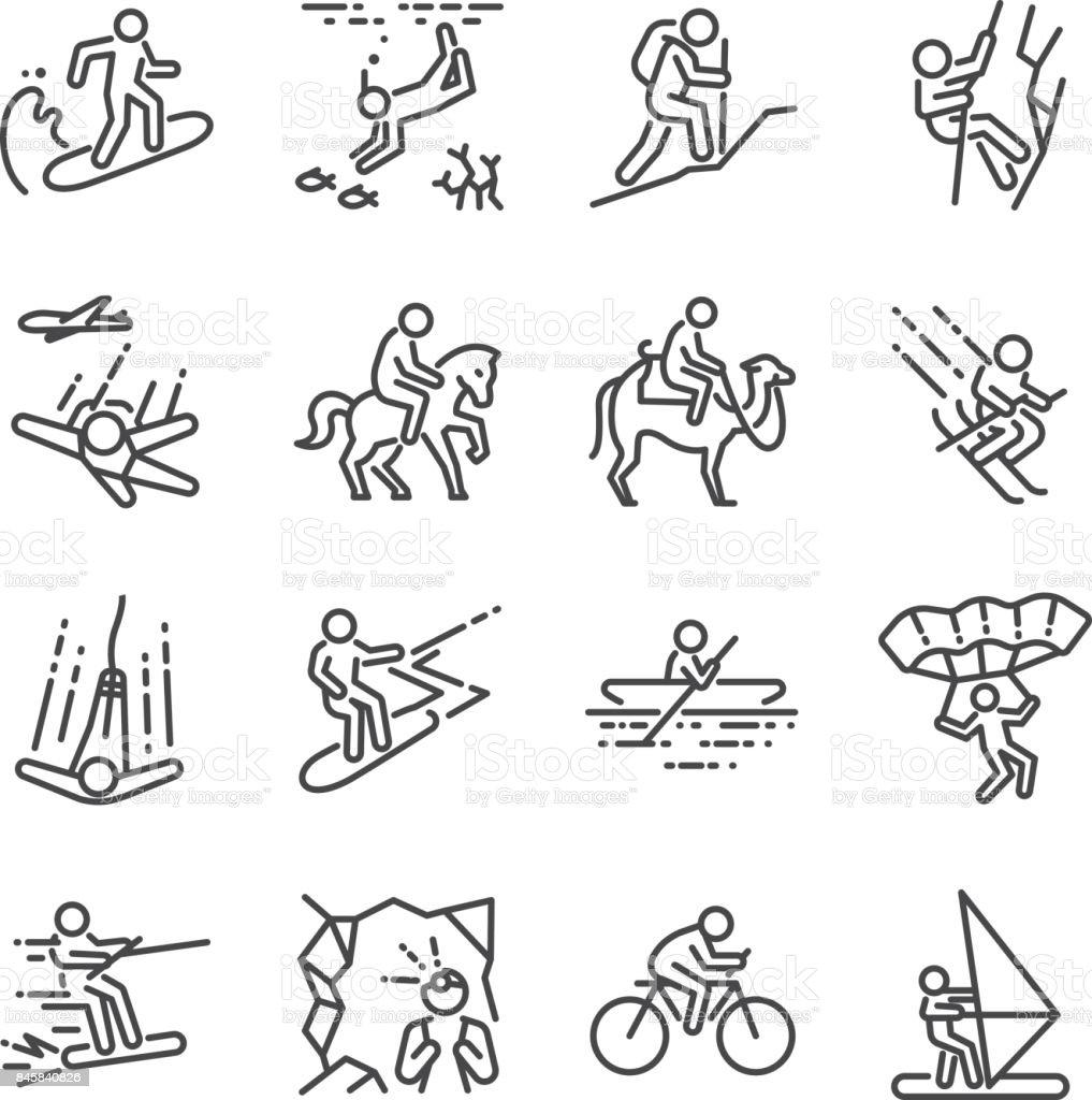 Conjunto de ícones de linha de atividades de viagem. Incluídos os ícones como vela, esqui, para-quedas, passeios a cavalo, passeios de bicicleta, andar de bicicleta e muito mais. - ilustração de arte em vetor