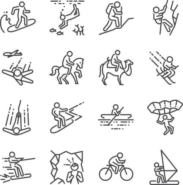 Travel activities line icon set. Included the icons as sailing, skiing, parachute, horse riding, biking, cycling and more. vector art illustration