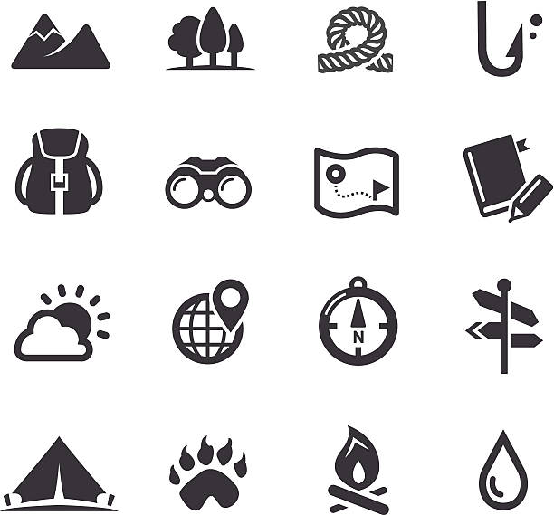 travel, adventure and camping icons - acme series - wildlife travel stock illustrations, clip art, cartoons, & icons