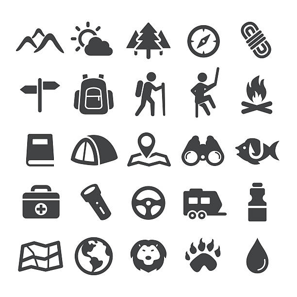 ilustraciones, imágenes clip art, dibujos animados e iconos de stock de travel, adventure and camping icons - smart series - viaje a la naturaleza