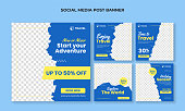 Travel, vacations, and holidays social media banner collection