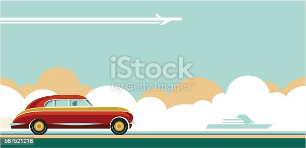 travel transportation, travel tips, travel adventures flat style retro banner, retro car