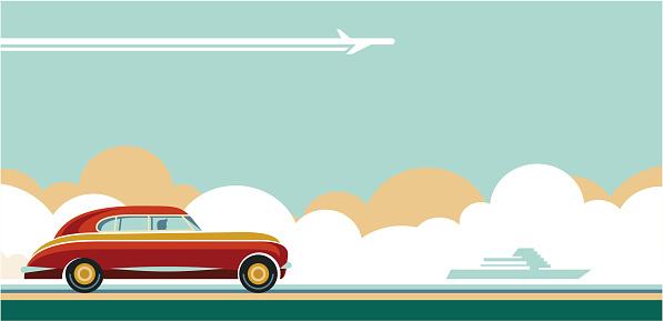 travel transportation, travel tips, travel adventures flat style retro banner, retro car