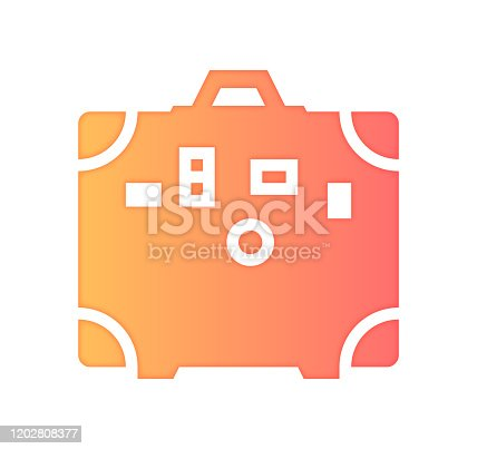 Travel agencies design with gradient painted by path of the icon. Papercut style graphic can also be used as simple vector template for silhouette illustrations.