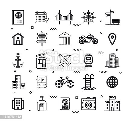 Travel agencies and tour operators outline style symbols with   decorations. Line vector icons set for infographics, mobile and web designs.