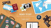 A travel agency as with various travel icons