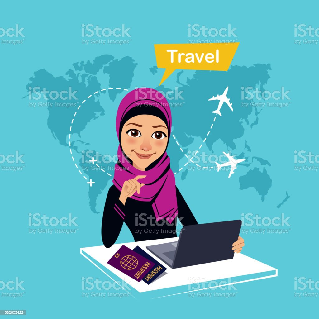 Travel agency banner. Arab woman sitting at table in office and makes out the purchase of tickets. Travel concept - Illustration vectorielle