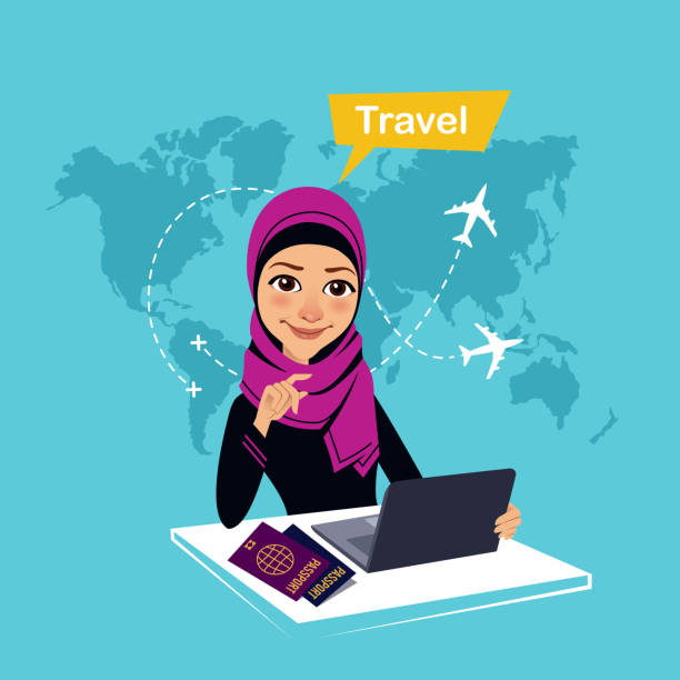 ilustrações, clipart, desenhos animados e ícones de travel agency banner. arab woman sitting at table in office and makes out the purchase of tickets. travel concept - agente de viagens