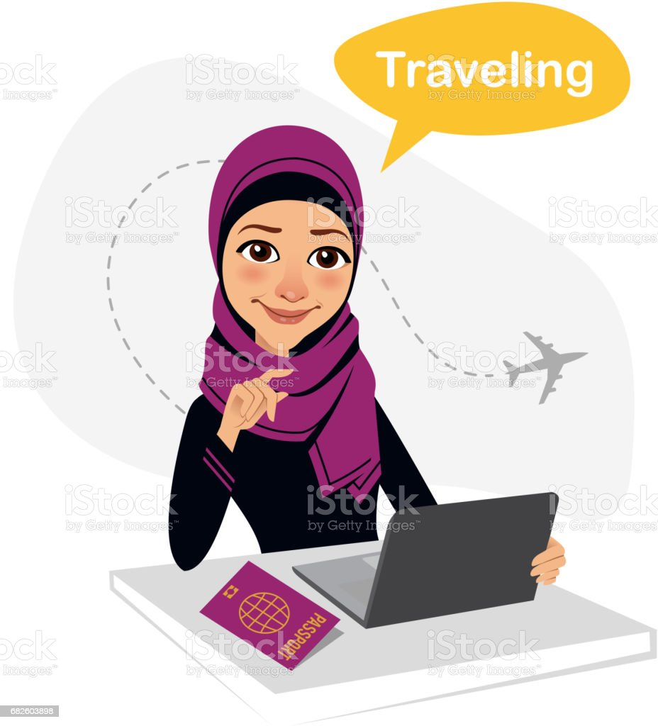Travel agency banner. Arab woman sitting at table in office. Travel agent working for laptop. Travel concept - Illustration vectorielle