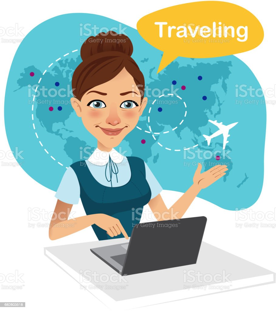 Travel agency banner. Woman sitting at table in office. Travel agent working for laptop. Travel concept vector art illustration