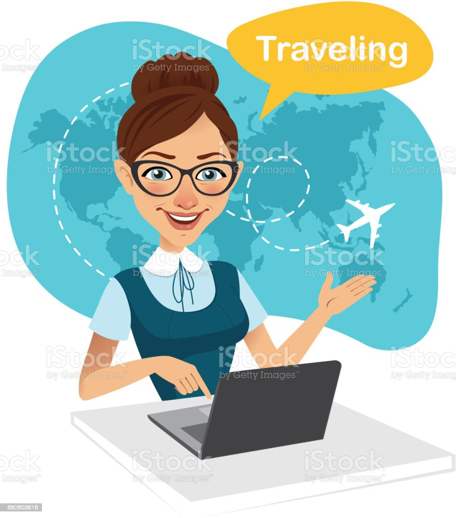 Travel agency banner. Woman sitting at table in office. Travel agent working for laptop. Travel concept - Illustration vectorielle