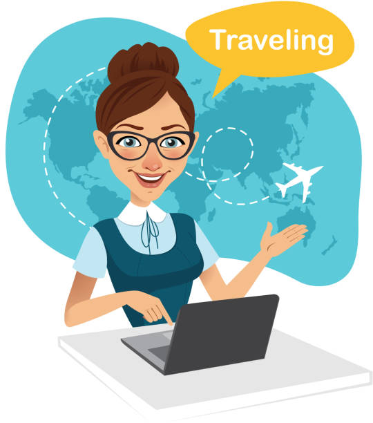 Travel agency banner. Woman sitting at table in office. Travel agent working for laptop. Travel concept - ilustración de arte vectorial