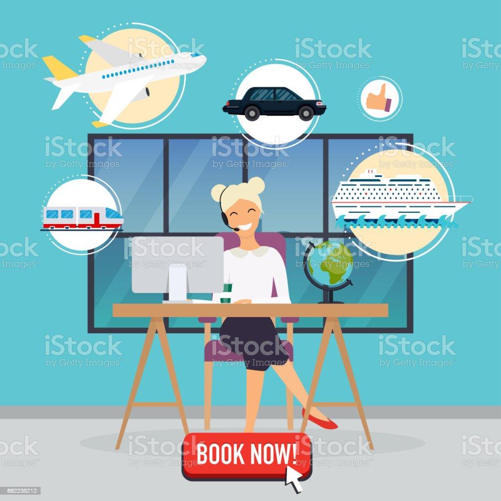 旅行代理店の概念。事務所のテーブルに座っている女性。飛行機、客船、列車、自動予約の休暇。フラットなデザイン現代ベクトル図の概念。 ベクターアートイラスト