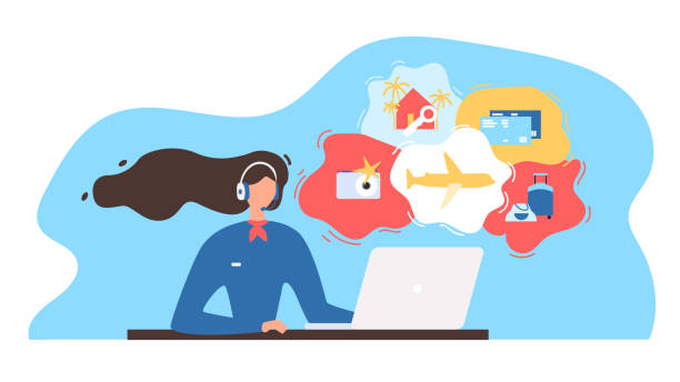 Travel Agency Consultant Working Online Vector Touristic Service Flat Vector Illustration with Travel Company Manager, Airline Call Canter Manager Wearing Headset, Using Laptop, Consulting Clients on Phone or Online. Choosing Vacation Tour Concept travel agents stock illustrations