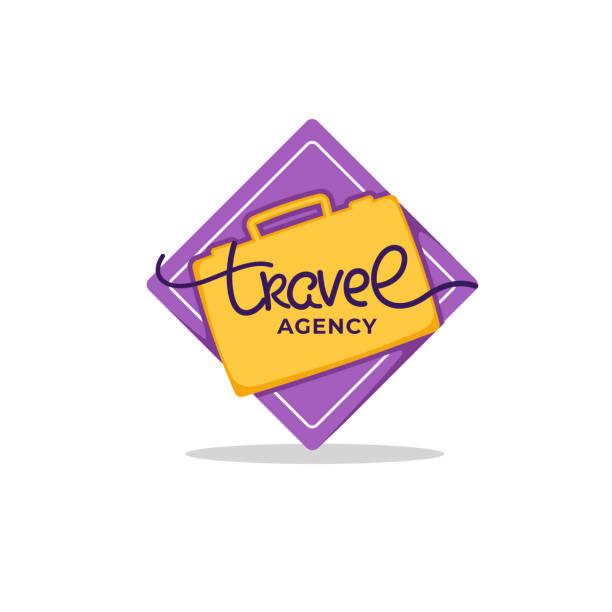 reisebüro-schriftzug-logo mit gelber koffer auf lila hintergrund - reisebüro stock-grafiken, -clipart, -cartoons und -symbole