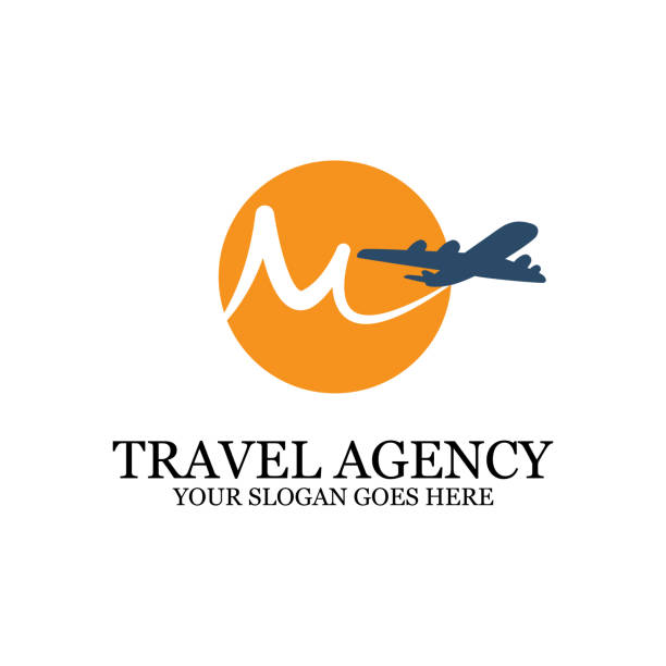 Travel Agency Logo template with airplane, M travel logo inspiration Travel Agency Logo template with airplane, M travel logo inspiration, simple logo designs travel agents stock illustrations