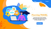 Travel Agency Online Service Flat Vector Web Banner. Call Center, Helpdesk Operator Helping Clients to Planning Travel, Booking Tickets or Hotel Illustration. Airline Company Landing Page Template