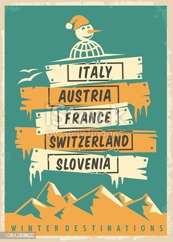 Travel agency retro promo poster design with popular winter destinations. Winter vacation vector ad template. Vintage flyer.