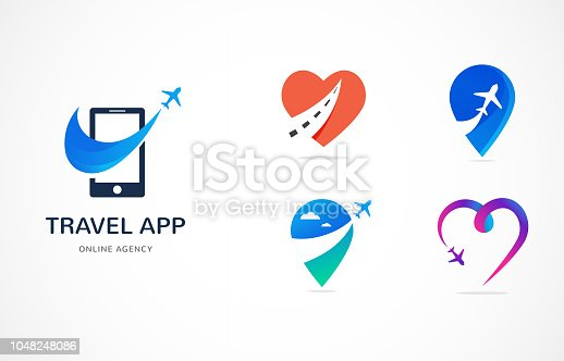 Travel agency, tourism app and trips logo, adventure tours, vector modern icon and graphic elements