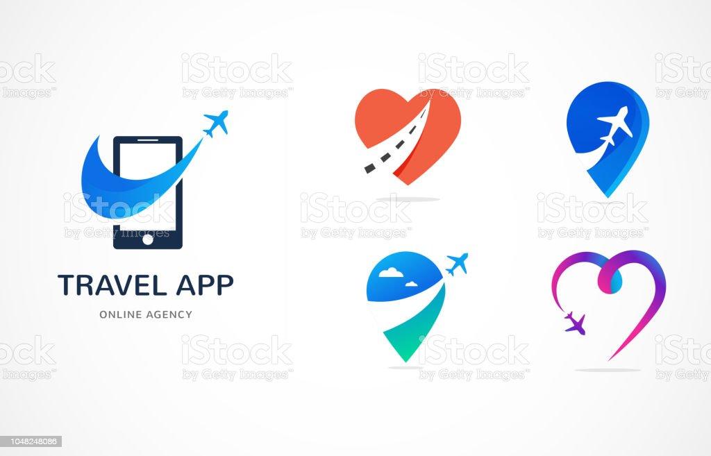 Agencia de viajes, logo de la aplicación y viajes de turismo, tours de aventura, icono moderno de vector y elemento - ilustración de arte vectorial
