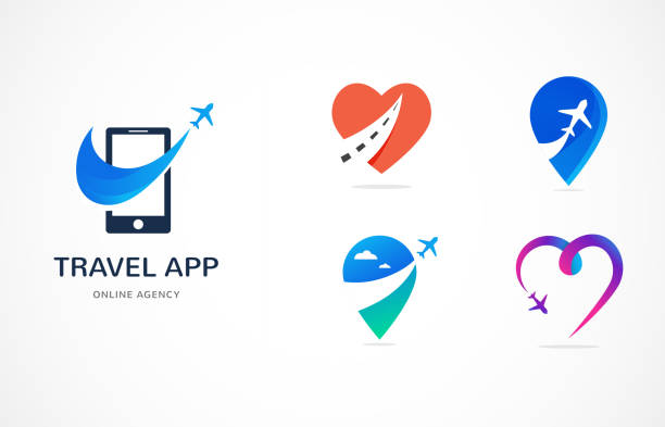 Travel agency, tourism app and trips logo, adventure tours, vector modern icon and element Travel agency, tourism app and trips logo, adventure tours, vector modern icon and graphic elements aircraft wing stock illustrations