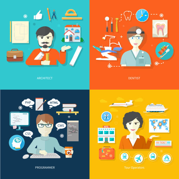 travel agent, architect, dentist and programmer - travel agent stock illustrations, clip art, cartoons, & icons