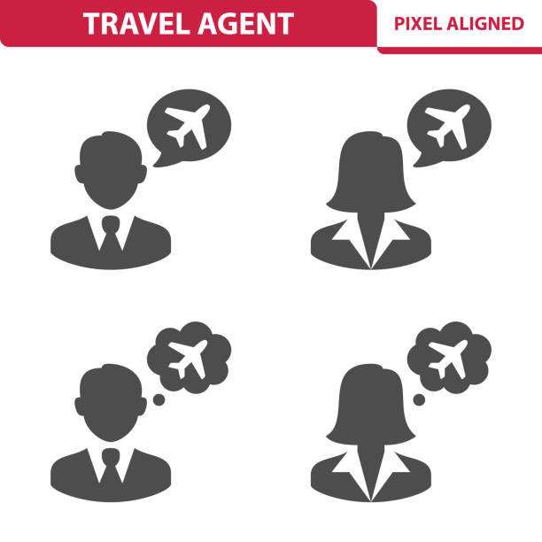travel agent icons - travel agent stock illustrations, clip art, cartoons, & icons