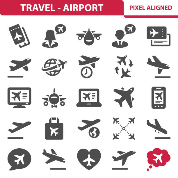 Travel - Airport Icons Professional, pixel perfect icons, EPS 10 format. airplane ticket stock illustrations