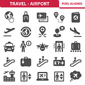 Professional, pixel aligned icons depicting various travel and airport concepts. EPS 8 format.