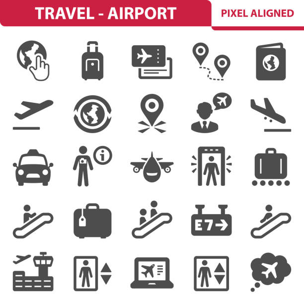 travel - airport icons - airport stock illustrations