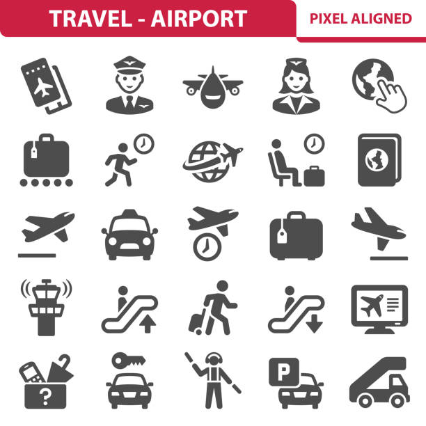 Travel - Airport Icons Professional, pixel aligned icons depicting various travel and airport concepts. EPS 8 format. airplane ticket stock illustrations
