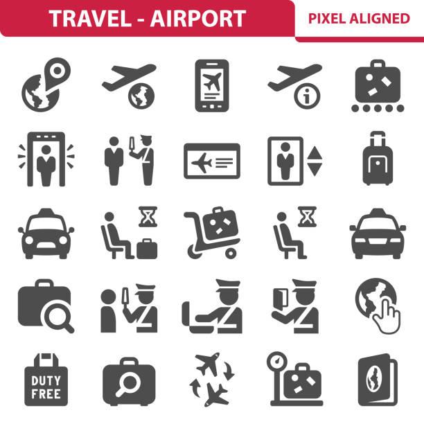 Travel - Airport Icons vector art illustration