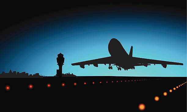 Travel & transport concept http://www.mustafadeliormanli.com/istock/lightbox_sunset.jpg airport silhouettes stock illustrations