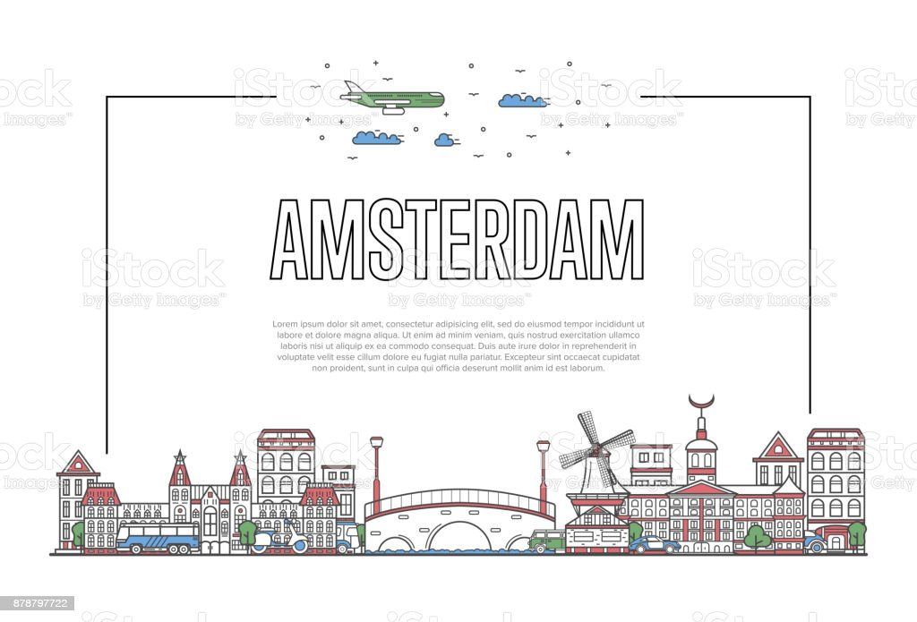 Travel Amsterdam poster in linear style vector art illustration