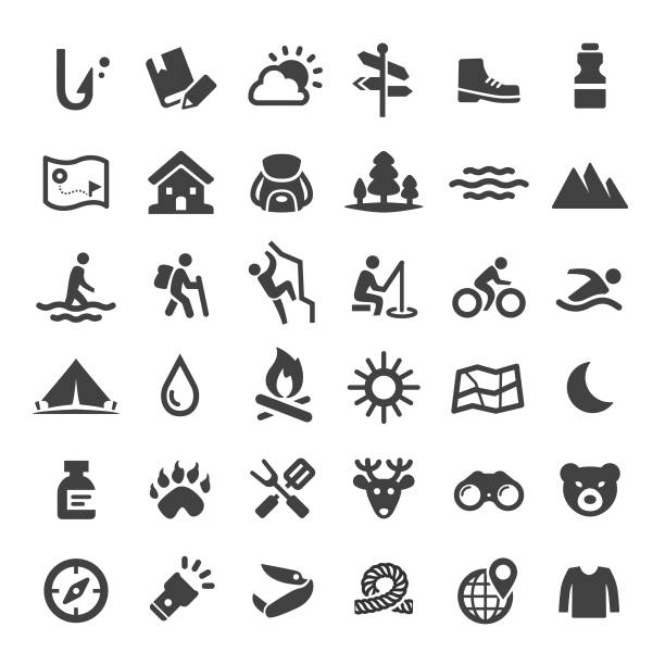 Travel and Adventure Icons - Big Series Travel, Adventure, camping, outdoors hiking stock illustrations