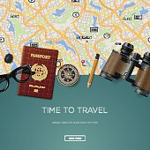 Travel and adventure template, time to travel