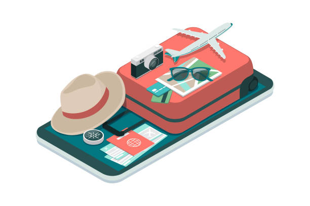 Travel and booking smartphone app vector art illustration