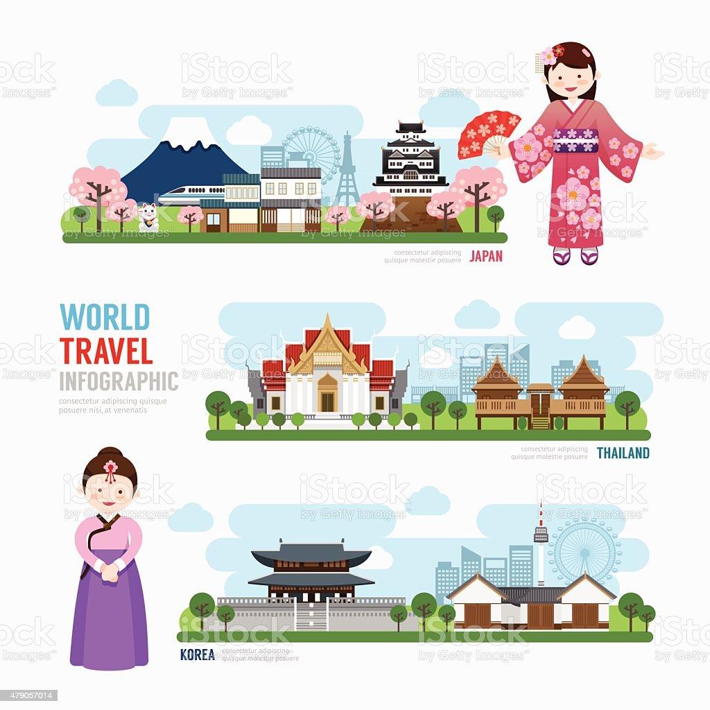 Travel and Building asia Landmark korea, japan, thailand Templat vector art illustration