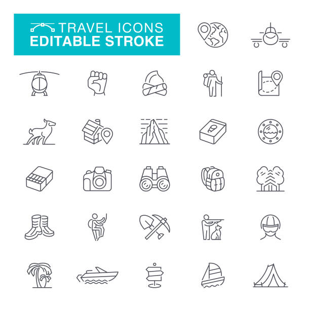 Travel and Camping Editable Line Icons vector art illustration