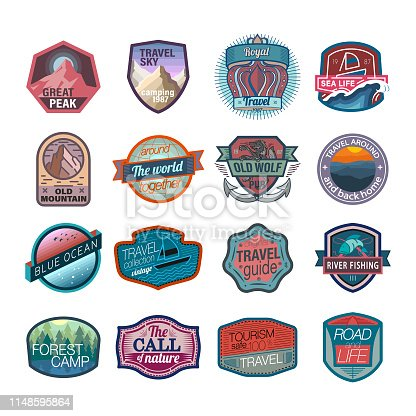 Hiking, Travel Destination, USA, Logo, Badge, Mountain, Icon set