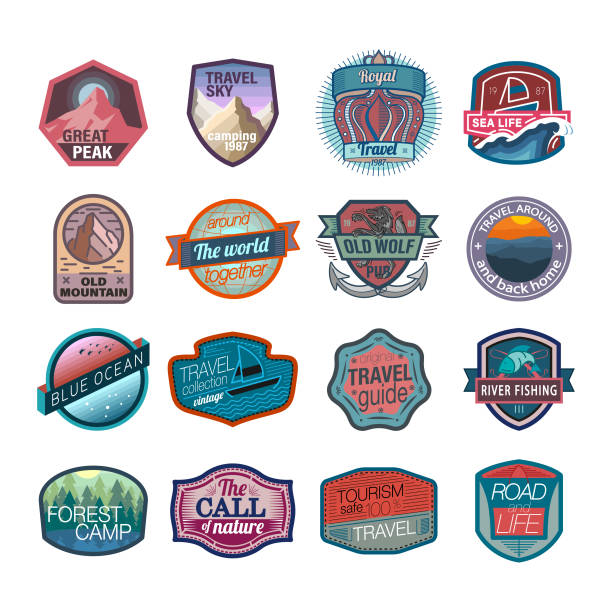 Travel and camping icons and  logo Hiking, Travel Destination, USA, Logo, Badge, Mountain, Icon set adventure patterns stock illustrations
