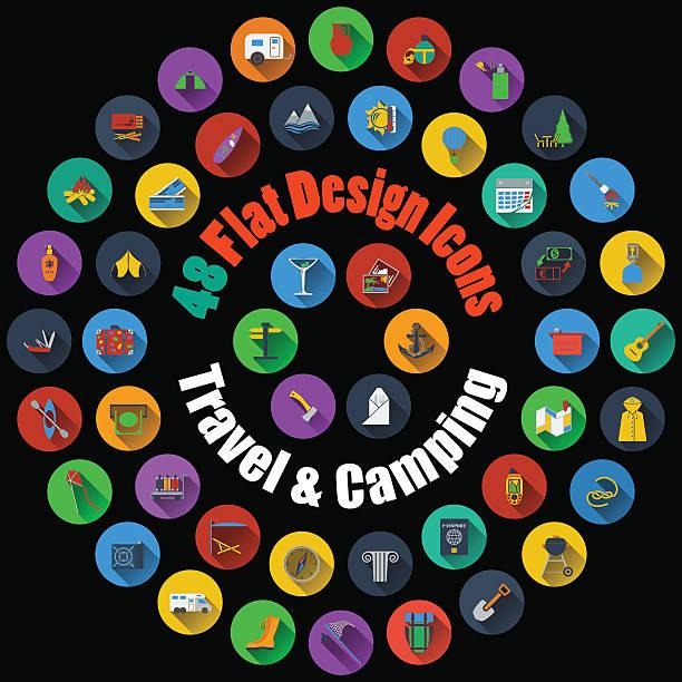 illustrations, cliparts, dessins animés et icônes de icônes de voyage et de camping - réception en plein air
