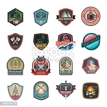 Travel, nature, hiking, hipster  icon set