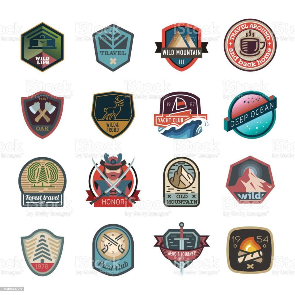 Travel and camping logo, emblem vector art illustration