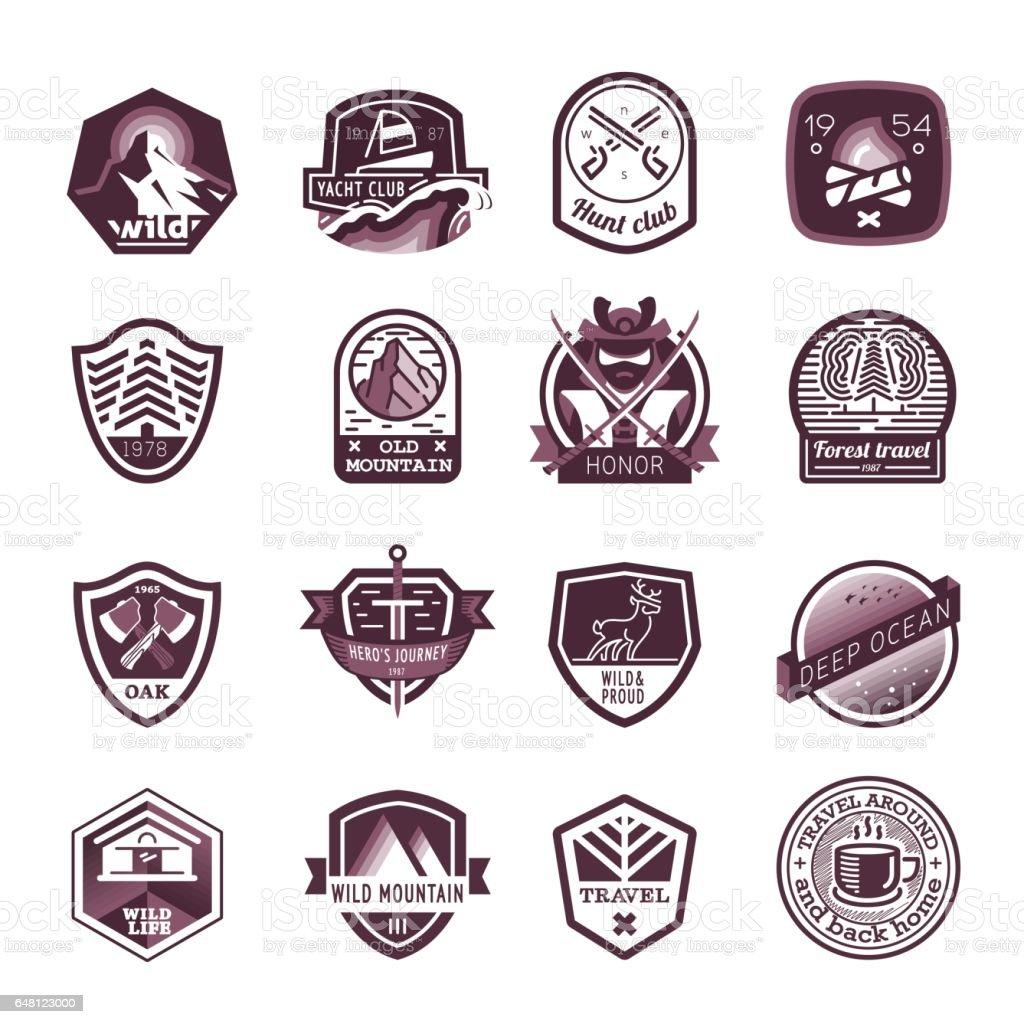 Travel and camping logo set vector art illustration