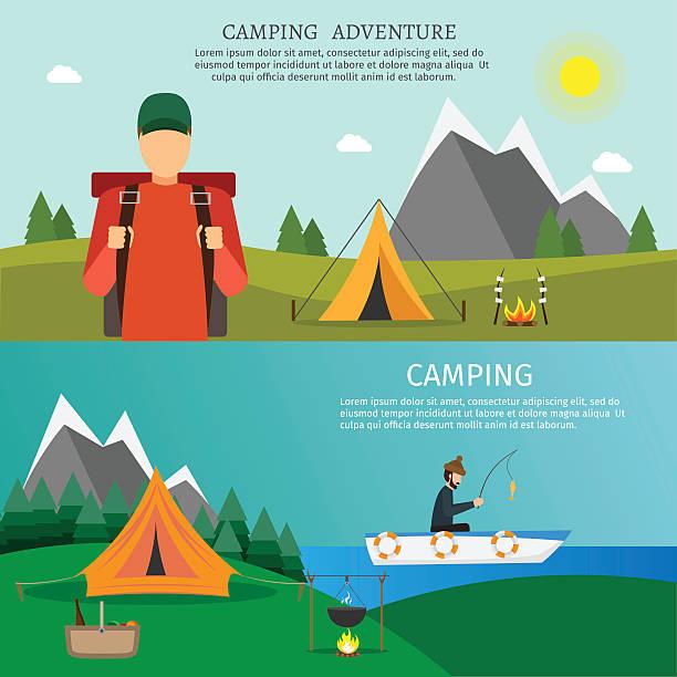 ilustraciones, imágenes clip art, dibujos animados e iconos de stock de travel and camping vector set - sparks
