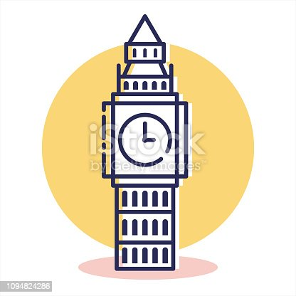 istock Travel and Destination Bigben Icon with Outline Style 1094824286